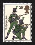 Sellos del Mundo : Europa : Reino_Unido : Uniformes del ejército británico, fusileros (Real Casacas Verdes, 1805)