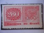"""Stamps : America : Brazil :  Centenario del Sello """"Ojo de Cabra"""" 1861.1961- Sello dentro de otro Sello."""