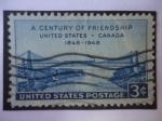 Stamps : America : United_States :  Un Siglo de Amistad entre Estados Unidos y Canadá, 1848-1948.Puente Colgante de Ferrocarril del Niág