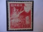 Stamps : Asia : Japan :  Pesca de Cormoranes - Phalacrocorax -Cuervo-  Fauna, Flora y Tesoros Nacionales.