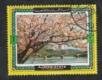 Stamps : Asia : United_Arab_Emirates :  Ajman - Estampa japonesa, Cerezo en flor