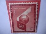 de America - ONU -  ONU (Nueva York) Mundo y Símbolo de la ONU - Correo Aéreo