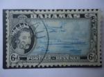 Stamps Bahamas -  Modern Transportation - Transporte Moderno -Serie: Queen Elizabeth II 1954