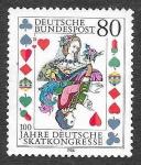 Sellos de Europa - Alemania -  1470 - Centenario del Congreso de Juego de Cartas Skat Alemán