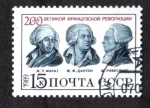 Stamps Russia -  Bicentenario de la Revolución Francesa. Retratos de Jean-Paul Marat, Georges Danton y Maximilien
