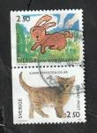 Stamps : Europe : Sweden :  1699 y 1701 - Conejo y gato