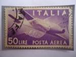 Sellos del Mundo : Europa : Italia : Handshake, Caproni-Campini 1 - Serie: Democracia.