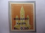 Sellos del Mundo : America : Venezuela : Panteón Nacional-Caracas - Sello resellado, 0,50 sobre 1,20 Bs.
