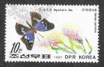 de Asia - Corea del norte -  2642 - Mariposa y Planta