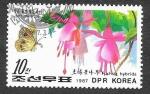 de Asia - Corea del norte -  2643 - Mariposa y Planta