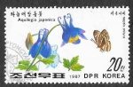 de Asia - Corea del norte -  2644 - Mariposa y Planta