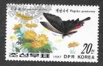 de Asia - Corea del norte -  2645 - Mariposa y Planta