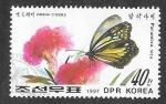 de Asia - Corea del norte -  2646 - Mariposa y Planta