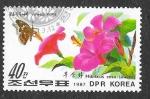 de Asia - Corea del norte -  2647 - Mariposa y Planta