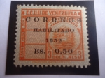 de America - Venezuela -  E.E.U.U. de Venezuela - Sello telégrafo Sobre Estampado - Correos Habilitado 2n 1952. -
