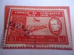 de America - Venezuela -  Primer Centenario de la Implantación del Sello de Correo, 1858-1958-Don Miguel Herrera-Escudo de Arm