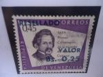 Stamps America - Venezuela -  Primer Centenario de la Muerte de Agustín Codazzi, 1859-1959 - Sello con sobre tasa de 0,25 Céntimos
