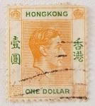 Sellos del Mundo : Asia : Hong_Kong : SG156 $1 King George VI