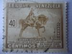 Stamps America - Venezuela -  Simón Bolívar - Traslado de la Estatua del Libertador en Nueva York el 19 de Abril de 1951-E.E.U.U.