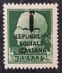 de Europa - Italia -  Republica Sociale Italiana, Vittorio Emanuele - 25 cent 1944