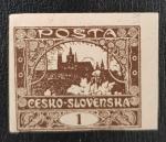 Sellos de Europa - Checoslovaquia -  Czechoslovakia - Hradcany Castle, 1 haleru, 1919