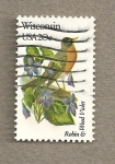 Stamps United States -  Flores y aves-Wisconsin
