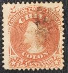 Stamps Chile -  Chile, Colon, 5 Centavos, 1867