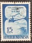 Stamps Asia - Indonesia -  National Aviation Day, 15 sen, 1958