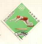 Stamps Ecuador -  JJOO Mexico 1968. Natacion.