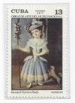 Stamps : America : Cuba :  Obras de arte del museo nacional (retrato F. Xaviera Paula - Anonimo)