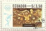 Stamps Ecuador -  Pinturas de artistas mejicanos JJOO Mexico 1968. Madre e hijo por David Sequeiros.
