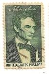 Stamps United States -  Sesquicentenario de Lincoln. A. Lincoln retrato por George Healy.