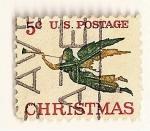Stamps : America : United_States :  Navidad 1965. Angel con trompeta.