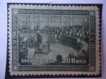 Stamps : Europe : Croatia :  Hrvatski Sabor-Nezavisna Hrvatska (1941-1951)-Parlamento de croacia-Aniversario.
