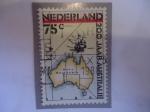 """Stamps : Europe : Netherlands :  Mapa de Australia - Con Inscripción """"Nova Hollandia - 200 Años."""