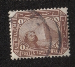 Sellos del Mundo : Africa : Egipto : Esfinge delante de la pirámide de Keops.