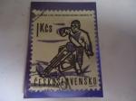 Sellos del Mundo : Europa : Checoslovaquia : Motociclista - Deportes 1963.
