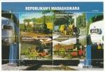 Sellos del Mundo : Africa : Madagascar : Hoja Bloque - Locomotoras