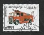 Sellos del Mundo : Asia : Camboya :  1408 - Vehículo antiguo de Bomberos