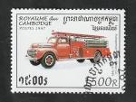 Sellos del Mundo : Asia : Camboya : 1407 - Vehículo antiguo de Bomberos
