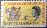 Stamps : Oceania : New_Zealand :  Scott#375 , hbr intercambio 0,25 usd. 4 D. 1965