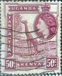 Stamps : Africa : Kenya :  Scott#110 , intercambio 0,20 usd. 50 cents. 1954
