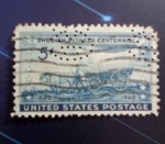 Stamps : America : United_States :  US stamp with perfin