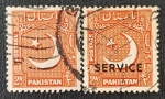 Stamps Asia - Pakistan -  2 x Half Moon and Star, Overprint Service, 1953, 2 as