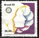 Sellos de America - Brasil -  Rotary - Perfil y emblema