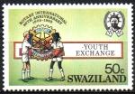 Stamps Swaziland -  80th  ANIVERSARIO  DEL  CLUB  ROTARIO.  NIÑOS  Y  EMBLEMA.