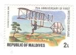 Stamps : Asia : Maldives :  75 aniversario del primer aeroplano motorizado