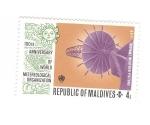 Stamps : Asia : Maldives :  100 Aniversario organización mundial de metereologia