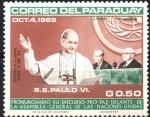 de America - Paraguay -  VISITA  DE  S. S. PABLO  VI  A  LA  O.N.U.  PRONUNCIANDO  DISCURSO  PRO-PAZ.