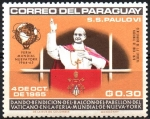 de America - Paraguay -  VISITA  DE  S. S. PABLO  VI  A  LA  O.N.U.  PAPA,  GLOBO  Y  ESCUDO  DEL  VATICANO.